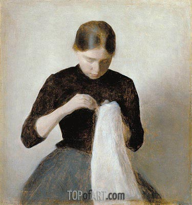 Young Girl Sewing, 1887   Hammershoi   Painting Reproduction