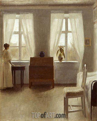 In the Bedroom, Undated | Hammershoi | Painting Reproduction