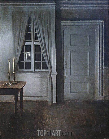 Interior with Two Candles, 1904 | Hammershoi | Painting Reproduction
