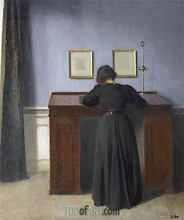 Ida Standing at a Desk, 1900 | Hammershoi | Painting Reproduction