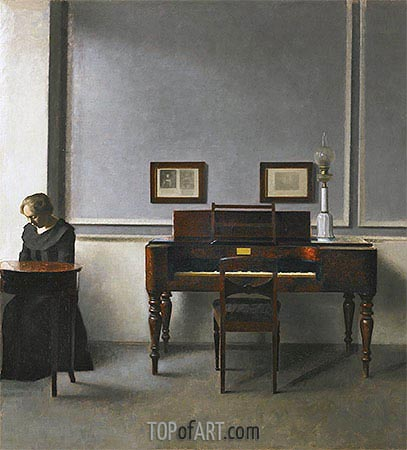 Ida in an Interior with Piano, 1901   Hammershoi   Painting Reproduction