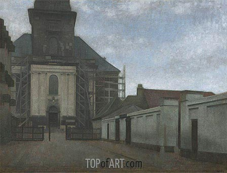 Strandgade with Christians Kirke in the Background, c.1907/08 | Hammershoi | Painting Reproduction