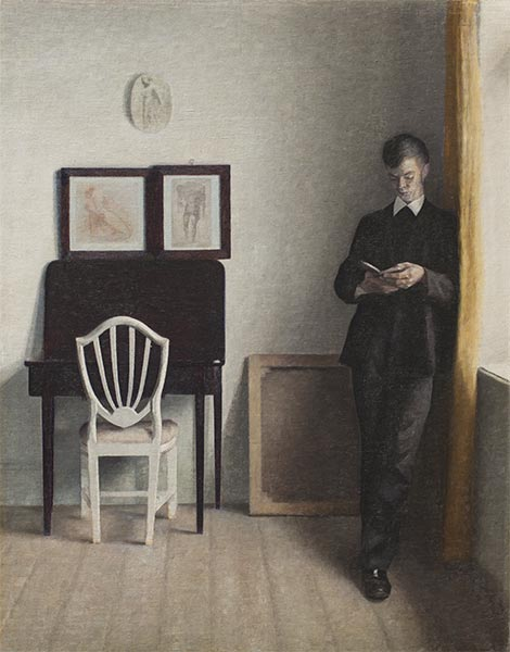 Interior with a Reading Young Man, 1898 | Hammershoi | Painting Reproduction