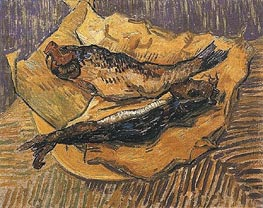 Still Life: Bloaters on a Piece of Yellow Paper, 1889 by Vincent van Gogh | Painting Reproduction