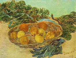 Still Life with Oranges, Lemons and Blue Gloves, 1889 by Vincent van Gogh | Painting Reproduction
