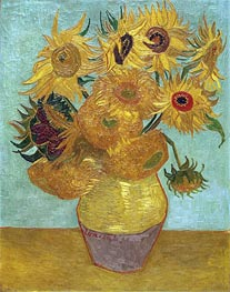 Still Life: Vase with Twelve Sunflowers, c.1888/89 by Vincent van Gogh | Painting Reproduction
