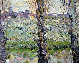 Orchard in Bloom with View of Arles, 1889 by Vincent van Gogh | Painting Reproduction