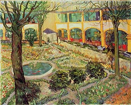 The Courtyard of the Hospital at Arles, 1889 von Vincent van Gogh | Gemälde-Reproduktion