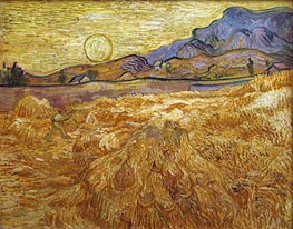 Wheat Field with Reaper and Sun, 1889 von Vincent van Gogh | Gemälde-Reproduktion