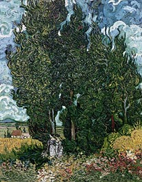 Cypresses with Two Female Figures | Vincent van Gogh | Painting Reproduction
