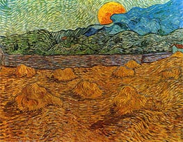 Landscape with Wheat Sheaves and Rising Moon, 1889 von Vincent van Gogh | Gemälde-Reproduktion