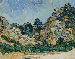 Mountains at Saint-Remy with Dark Cottage, 1889 by Vincent van Gogh | Painting Reproduction
