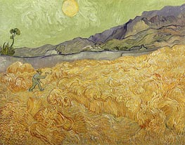 Wheatfield with a Reaper, 1889 by Vincent van Gogh | Painting Reproduction