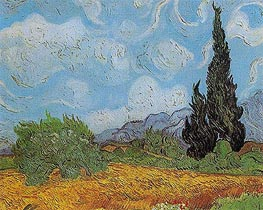 Wheat Field with Cypresses, 1889 von Vincent van Gogh | Gemälde-Reproduktion