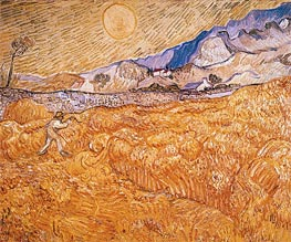 Wheat Field Behind Saint-Paul Hospital with Reaper, September by Vincent van Gogh | Painting Reproduction