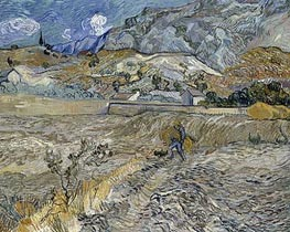Enclosed Wheat Field with Peasant, 1889 by Vincent van Gogh | Painting Reproduction