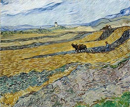 Enclosed Field with Ploughman, 1889 von Vincent van Gogh | Gemälde-Reproduktion