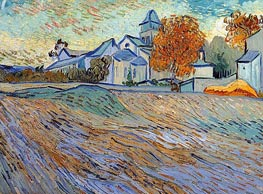 View of the Church of Saint-Paul-de-Mausole, 1889 by Vincent van Gogh | Painting Reproduction