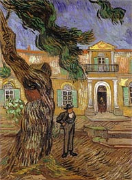 Pine Trees with Figure in the Garden of Saint-Paul Hospital, 1889 von Vincent van Gogh | Gemälde-Reproduktion