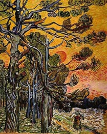 Pine Trees at Sunset , 1889 von Vincent van Gogh | Gemälde-Reproduktion