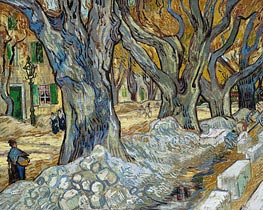 The Large Plane Trees (Road Menders at Saint-Rémy), 1889 von Vincent van Gogh | Gemälde-Reproduktion