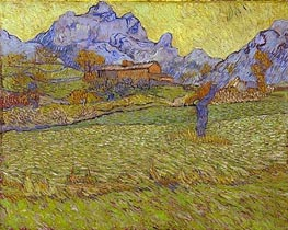 Wheatfields in a Mountainous Landscape, 1889 von Vincent van Gogh | Gemälde-Reproduktion