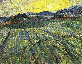 Enclosed Field with Rising Sun, 1889 von Vincent van Gogh | Gemälde-Reproduktion