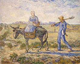 Morning: Going out to Work (After Millet)  , 1890 by Vincent van Gogh | Painting Reproduction