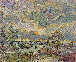 Cottages and Cypresses - Reminiscence of the North | Vincent van Gogh | Painting Reproduction
