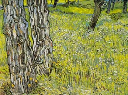 Pine Trees and Dandelions in the Garden, 1890 by Vincent van Gogh | Painting Reproduction
