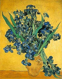 Vase with Irises Against a Yellow Background, 1890 von Vincent van Gogh | Gemälde-Reproduktion