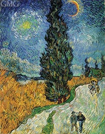 Road with Cypress and Star, 1890 von Vincent van Gogh | Gemälde-Reproduktion