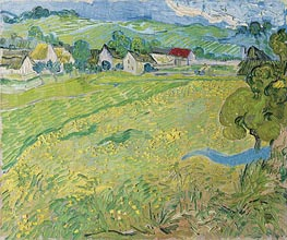 View of Vessenots Near Auvers, 1890 von Vincent van Gogh | Gemälde-Reproduktion