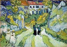 Village Street and Stairs with Figures, 1890 von Vincent van Gogh | Gemälde-Reproduktion