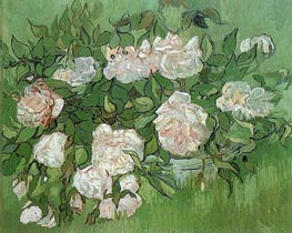 Still Life - Pink Roses, 1890 by Vincent van Gogh | Painting Reproduction
