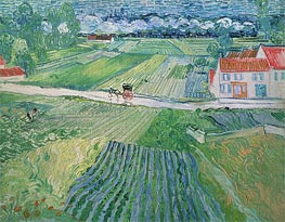 Landscape with Carriage and Train in the Background, 1890 by Vincent van Gogh | Painting Reproduction