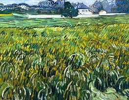 Wheat Field at Auvers with White House, 1890 von Vincent van Gogh | Gemälde-Reproduktion