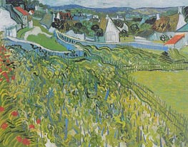 Vineyards with a View of Auvers, 1890 by Vincent van Gogh | Painting Reproduction