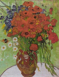 Still Life - Red Poppies and Daisies, 1890 by Vincent van Gogh | Painting Reproduction