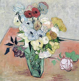 Still Life - Vase with Roses and Anemones, 1890 von Vincent van Gogh | Gemälde-Reproduktion