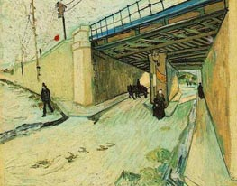 The Railway Bridge oner Avenue Montmajour, Arles | Vincent van Gogh | Painting Reproduction
