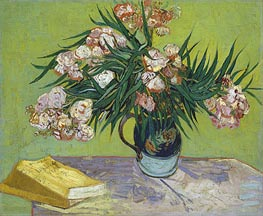 Still Life - Vase with Oleanders and Books, 1888 by Vincent van Gogh | Painting Reproduction