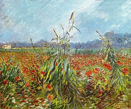 Corn Fields and Poppies, 1888 by Vincent van Gogh | Painting Reproduction