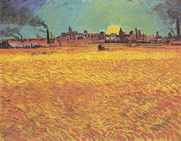 Sunset: Weat Fields Near Arles, June 1888 von Vincent van Gogh | Gemälde-Reproduktion