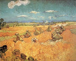 Wheat Stacks with Reaper, 1888 by Vincent van Gogh | Painting Reproduction