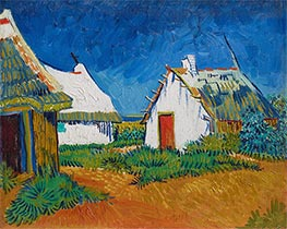 Three White Cottages in Saintes-Maries, Early June by Vincent van Gogh | Painting Reproduction