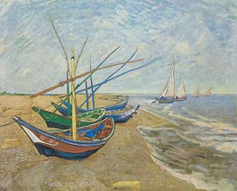 Fishing Boats on the Beach at Saintes-Maries, 1888 by Vincent van Gogh | Painting Reproduction