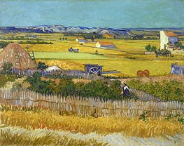 Harvest at La Crau with Montmajour, June 1888 by Vincent van Gogh | Painting Reproduction