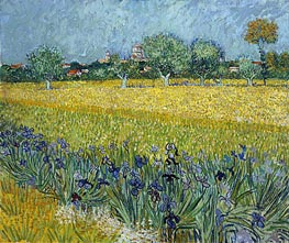 View of Arles with Irises in the Foreground, 1888 von Vincent van Gogh | Gemälde-Reproduktion