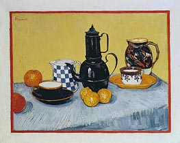 Blue Enamel Coffeepot, Earthenware and Fruit, 1888 von Vincent van Gogh | Gemälde-Reproduktion